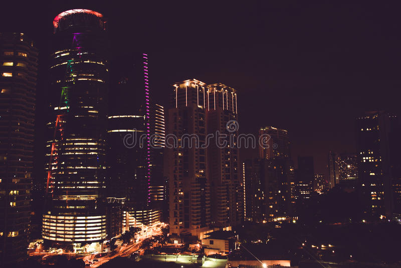 Spectacular night city view from window. Kuala Lumpur famous skyscrapers, Malaysia. Business metropolis. Modern building. Luxuriou. S travel and tourism. Urban stock photos
