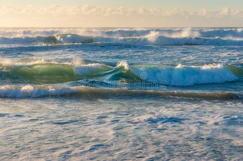 Spectacular ocean waves with white spray foam nature background stock photography