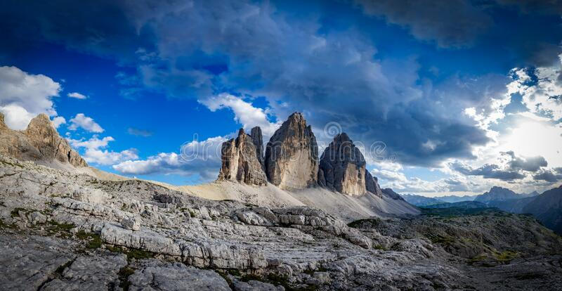 Tre Cime di Laveredo, spectacular panorama of the three spectacular mountain peaks. Spectacular panorama of Tre Cime di Laveredo, the three spectacular mountain royalty free stock images