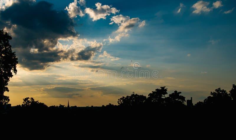 Spectacular panoramic view over Berlin at sunset stock photos