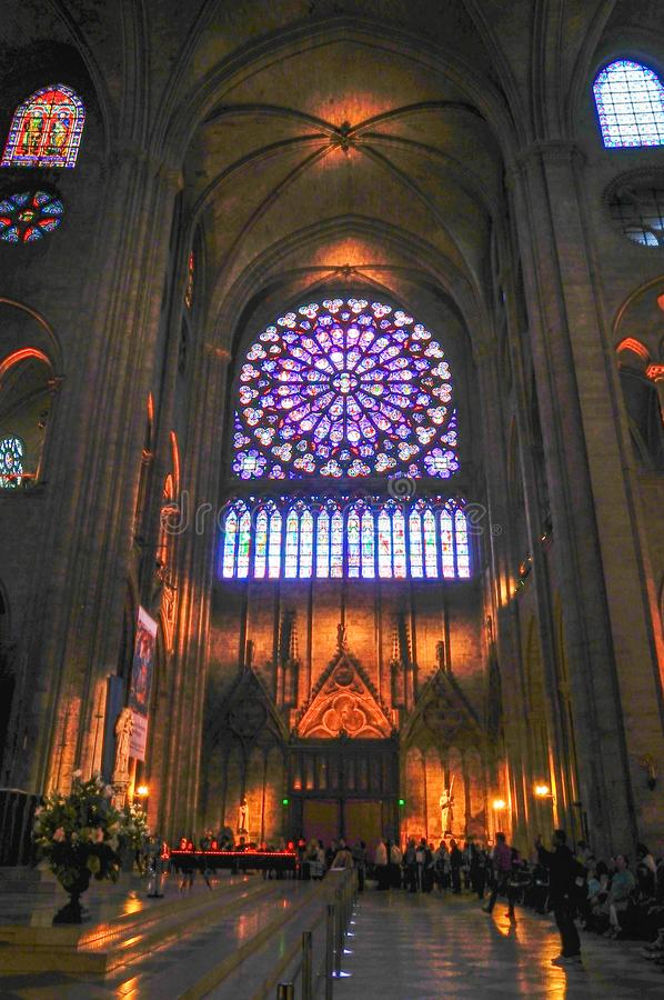 Spectacular Rose Window Notre-Dame de Paris in May, 2014 royalty free stock photo