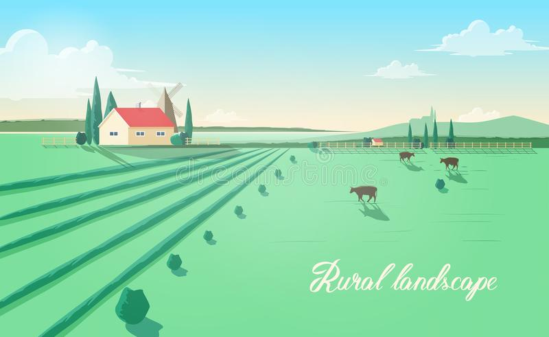 Spectacular rural landscape with farm building, windmill, cows grazing in green field against beautiful sky on stock illustration