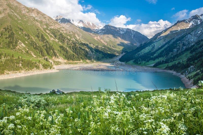 Spectacular scenic Big Almaty Lake, Tien Shan Mountains in Almaty, Kazakhstan,Asia stock image