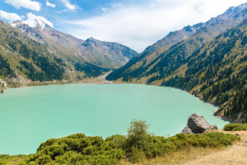 Spectacular scenic Big Almaty Lake ,Tien Shan Mountains in Almaty, Kazakhstan royalty free stock photography