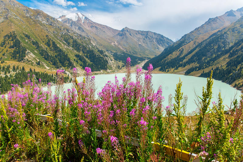 Spectacular scenic Big Almaty Lake ,Tien Shan Mountains in Almaty, Kazakhstan,Asia royalty free stock images