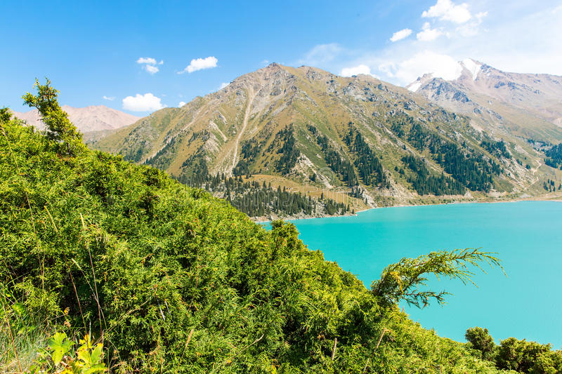 Spectacular scenic Big Almaty Lake ,Tien Shan Mountains in Almaty, Kazakhstan royalty free stock photo
