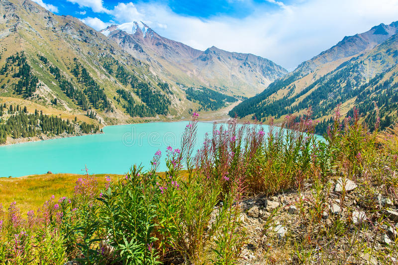 Spectacular scenic Big Almaty Lake ,Tien Shan Mountains in Almaty, Kazakhstan stock images