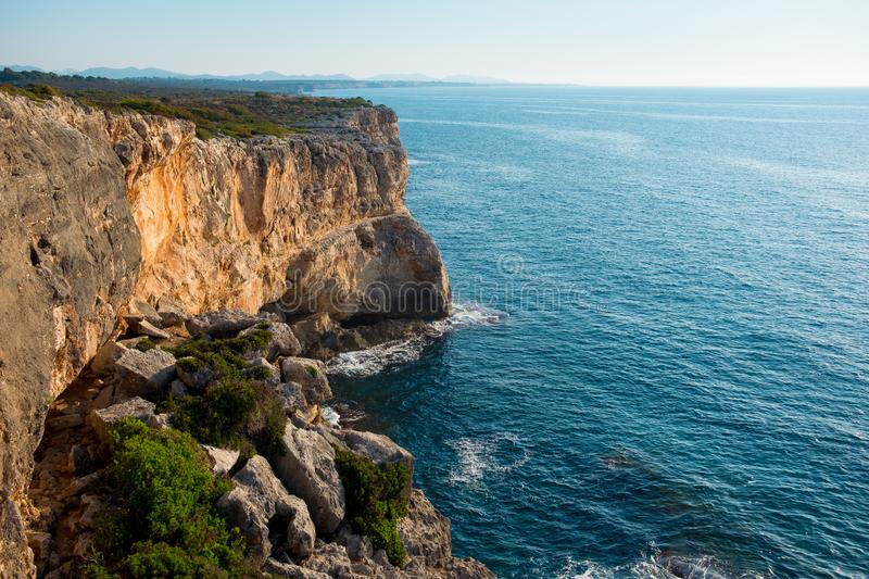 Spectacular scenic view of canyon sea palma de mallorca balearic island in early morning with mediterranean and calm atmosphere royalty free stock photos