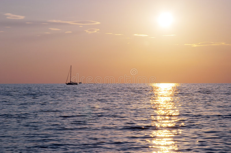 Spectacular sea sunset royalty free stock images