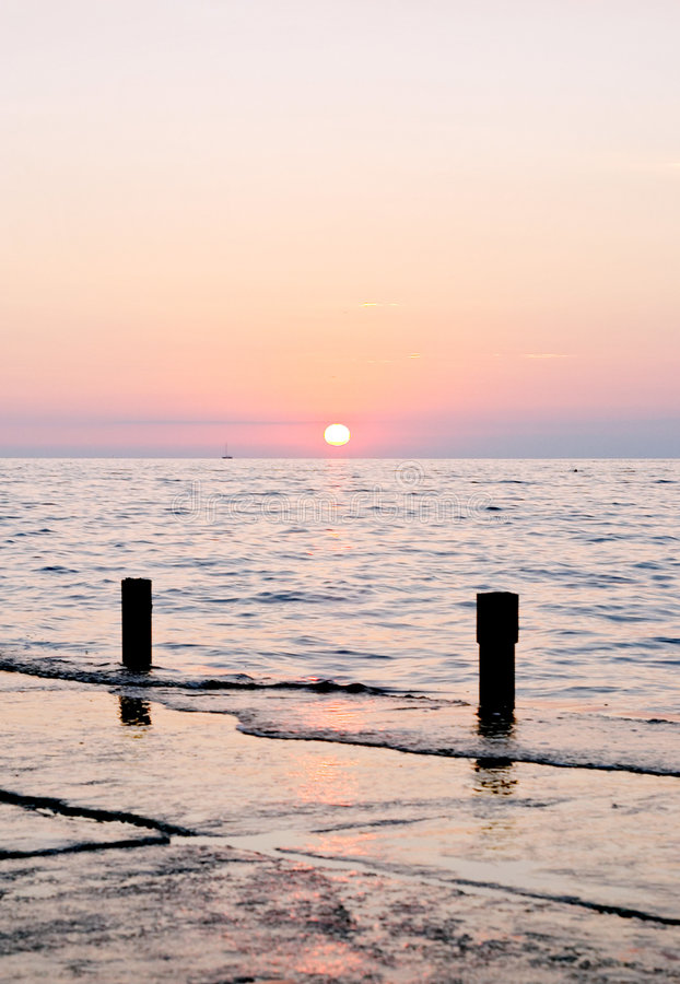 Spectacular sea sunset royalty free stock photo