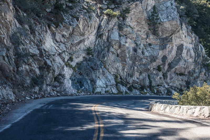Spectacular serpentine of the rocky road on mountain Wilson, San Gabriel Mountains, California royalty free stock photography