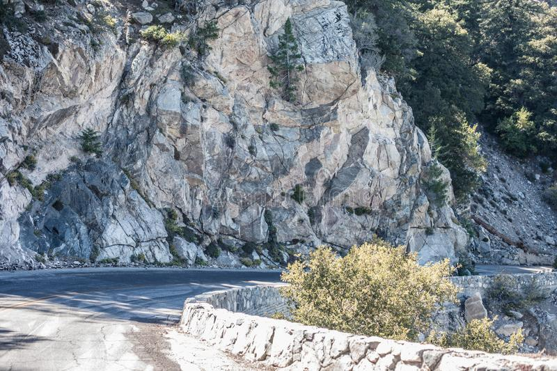 Spectacular serpentine of the rocky road on mountain Wilson, San Gabriel Mountains, California royalty free stock photo