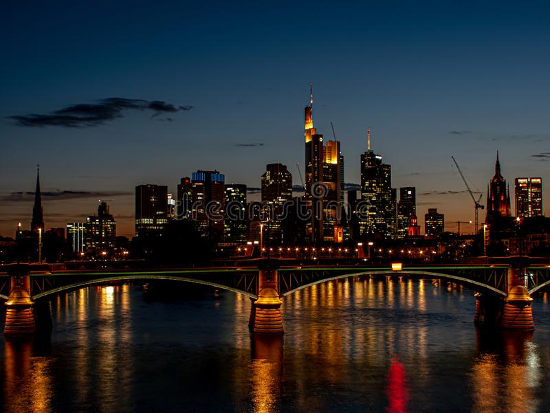 Spectacular skyline view on skyscrapers at night with light royalty free stock image