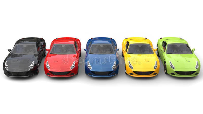 Spectacular sports cars in various colors - top down view. Isolated on white background royalty free stock photo