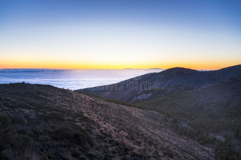 Spectacular sunset above the clouds in the Teide volcano national park stock photos