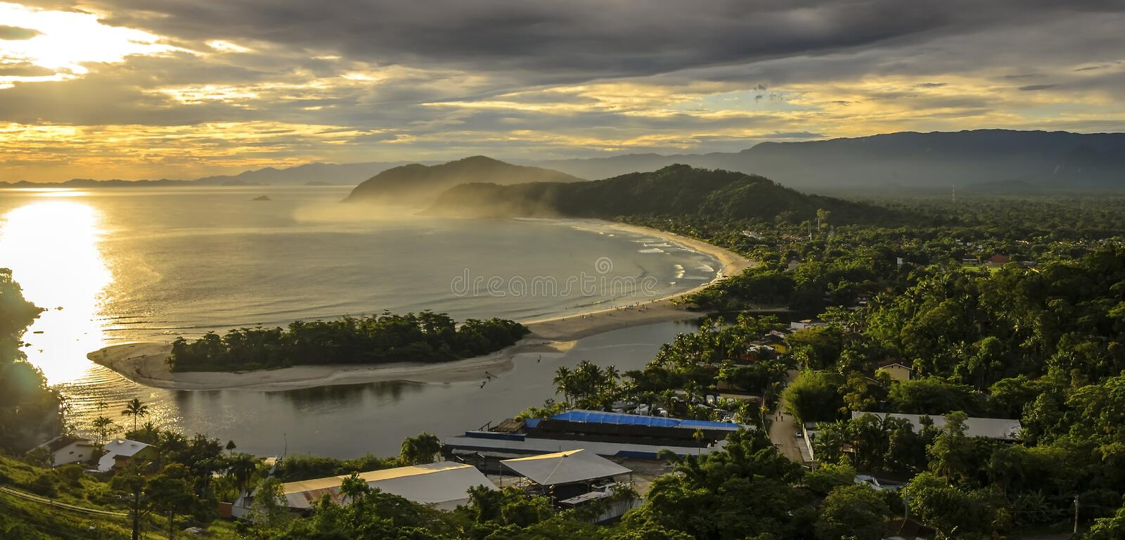 Spectacular sunset on the Barra do Una beach on the coast of the. State of Sao Paulo , Brazil stock image
