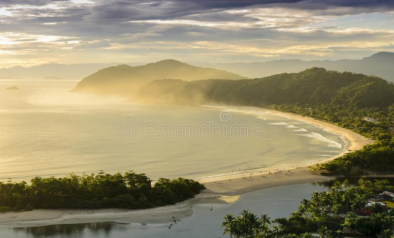 Spectacular sunset on the Barra do Una beach on the coast of the. State of Sao Paulo , Brazil stock images