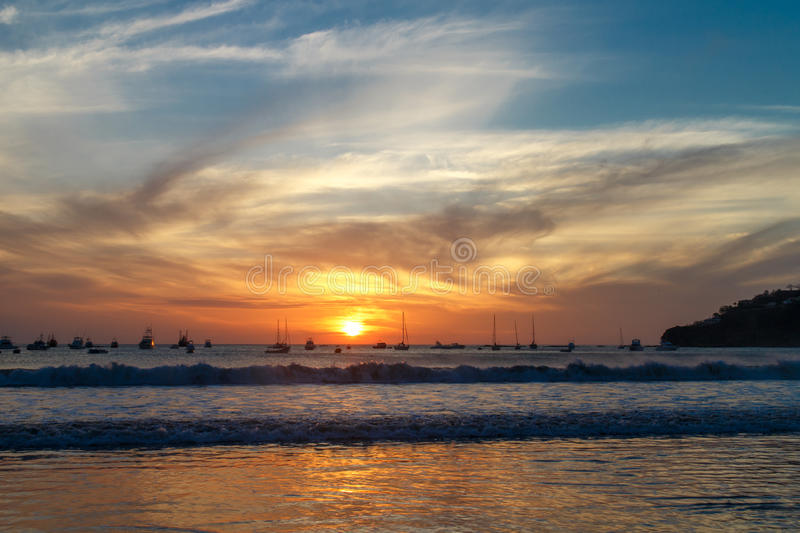 Spectacular sunset on beach. From Nicaragua royalty free stock photos