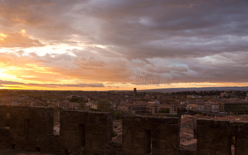 Spectacular sunset in Carcassonne. View from medieval village on stock photography
