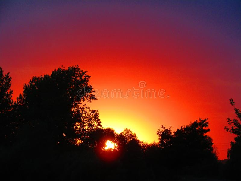 A spectacular sunset in Chelm Poland royalty free stock images