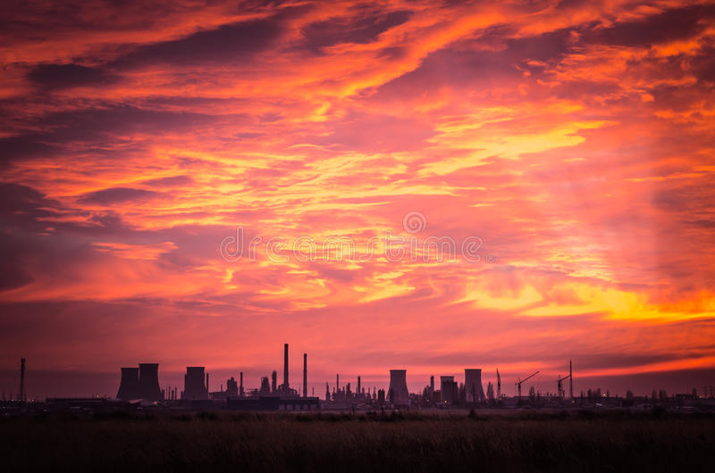 Spectacular sunset with clouds in the sky. stock photography