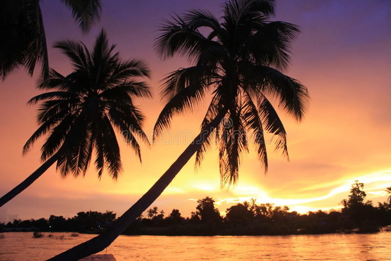 Spectacular sunset from Laos royalty free stock photos