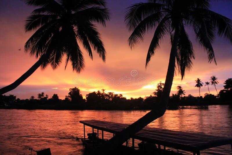 Spectacular sunset from Laos stock photos