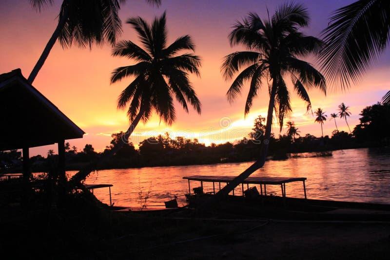 Spectacular sunset from Laos Don khong island stock photography