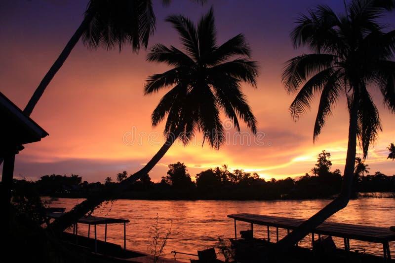 Spectacular sunset from Laos Don khong island royalty free stock photos