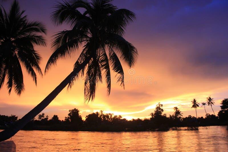 Spectacular sunset from Laos Don khong island stock image