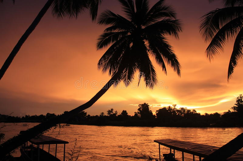 Spectacular sunset from Laos khong royalty free stock photography