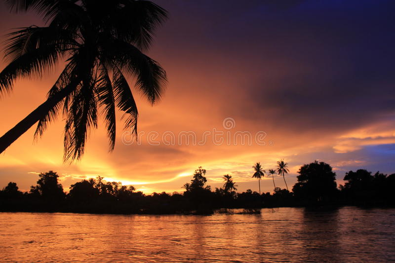 Spectacular sunset from Laos Don khong stock images