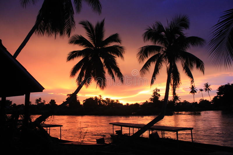 Spectacular sunset from Laos Don khong royalty free stock photo