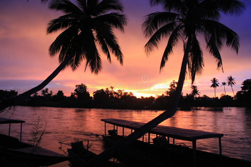 Spectacular sunset from Laos Don khong royalty free stock image