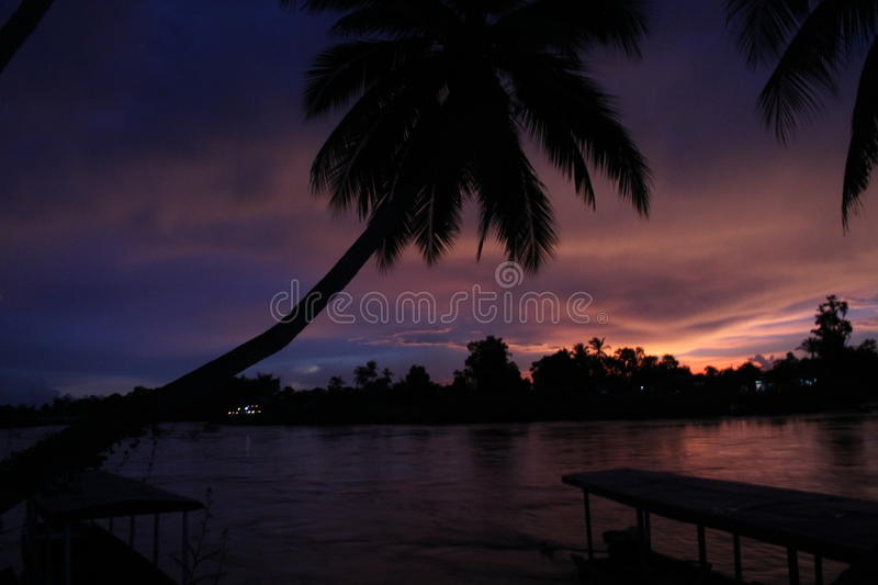 Spectacular sunset from Laos stock photo
