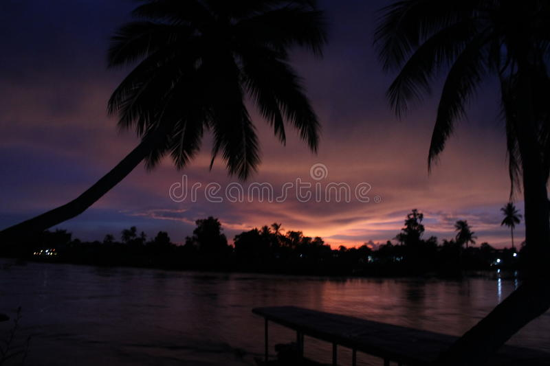Spectacular sunset from Laos stock image