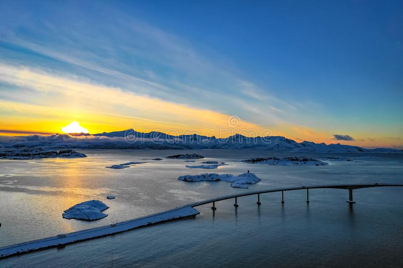 Amazing aerial view from Sommaroy Island Northern Norway stock photo