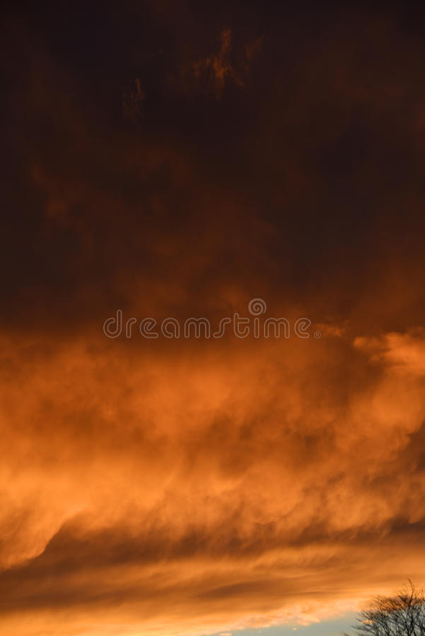 Spectacular sunset over Burnley Lancashire in Northern England. Sky seemingly on fire over Burnley in November 2015. The display lasted about 20 minutes and was royalty free stock images