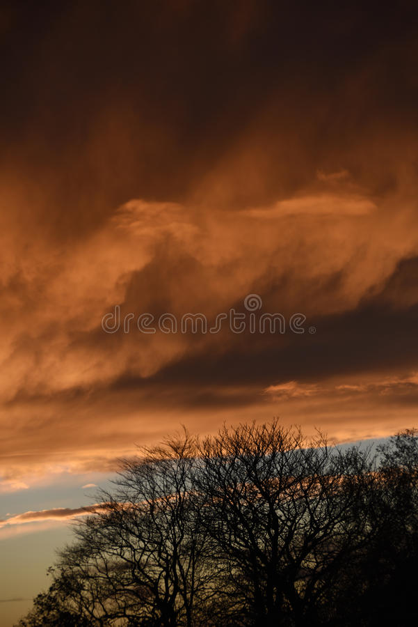 Spectacular sunset over Burnley Lancashire in Northern England. Sky seemingly on fire over Burnley in November 2015. The display lasted about 20 minutes and was royalty free stock image