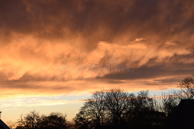 Spectacular sunset over Burnley Lancashire in Northern England. Sky seemingly on fire over Burnley in November 2015. The display lasted about 20 minutes and was royalty free stock photos