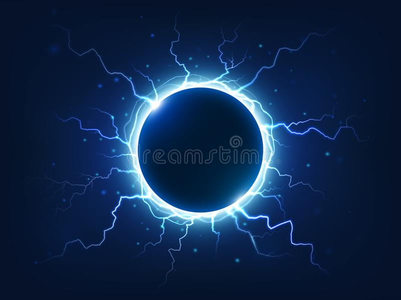Spectacular thunder and lightning surround blue electric ball. Power energy sphere surrounded electrical lightnings vector illustration