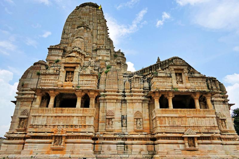 Ancient Hindu Temple at Chittorgarh Fort in Rajastan Region, India in Summer. Spectacular View of Ancient Hindu Temple at Chittorgarh Fort in Rajastan Region of royalty free stock photography