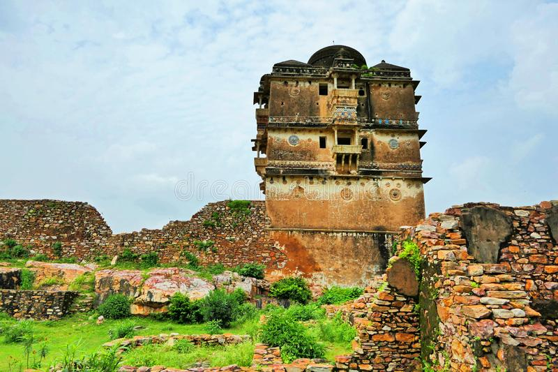 Ancient Ruins at Chittorgarh Fort in Rajastan Region, India in Summer. Spectacular View of Ancient Ruins at Chittorgarh Fort in Rajastan Region of India in stock photography