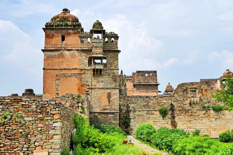 Ancient Ruins of Khumba Palace at Chittorgarh Fort in Rajastan Region, India in Summer. Spectacular View of Ancient Ruins of Khumba Palace at Chittorgarh Fort in royalty free stock image