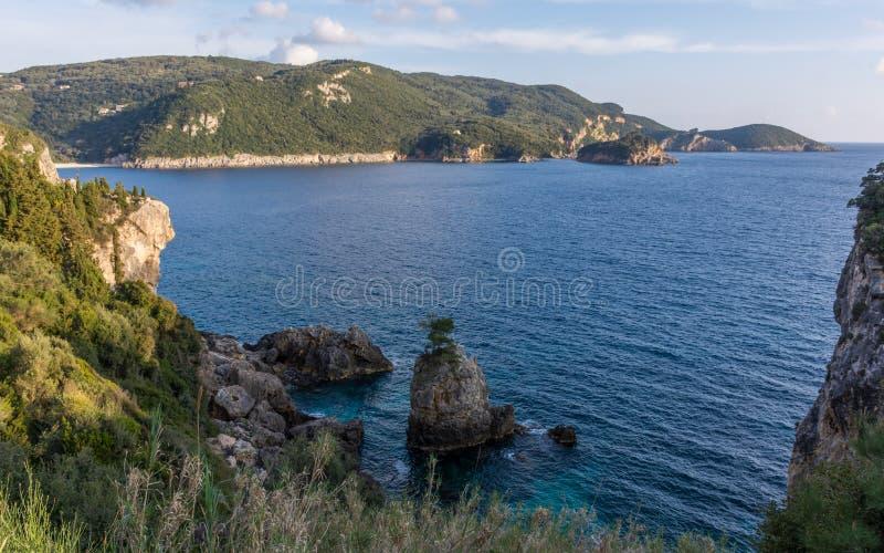 Spectacular view of a bay in Palaiokastritsa Corfu Greece. royalty free stock photos