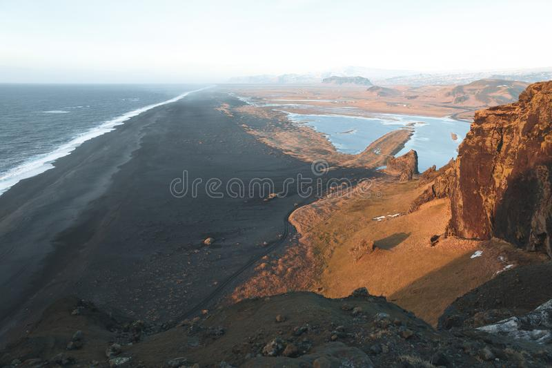 Spectacular view from the cliff on beautiful ocean and shore, vik dyrholaey, reynisfjara. Beach, iceland royalty free stock images