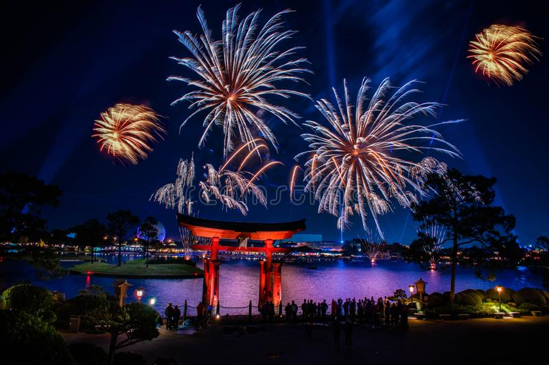 Spectacular view of Epcot Forever fireworks and Japan arch in Walt Disney World 11. Orlando, Florida . December 18, 2019. Spectacular view of Epcot Forever royalty free stock images