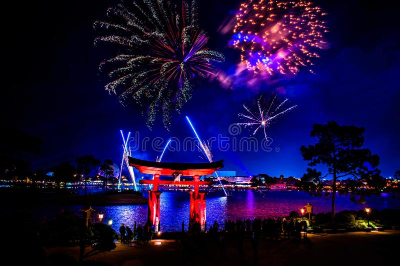 Spectacular view of Epcot Forever fireworks and Japan arch in Walt Disney World 13. Orlando, Florida . December 18, 2019. Spectacular view of Epcot Forever stock image