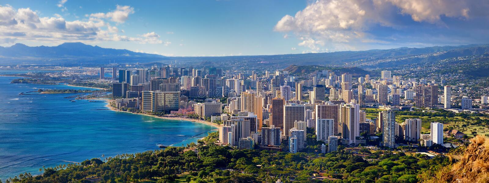 Spectacular view of Honolulu city, Oahu stock photos