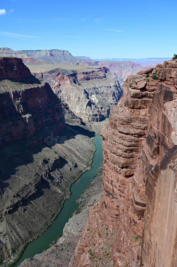 Colorado River from Toroweap Overlook in the Grand Canyon. The spectacular view of the inner canyon and the Colorado River from Toroweap Overlook in Grand stock photography